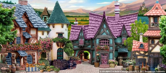 Belle's Village SH-BB017S 20x45 Beauty and the Beast Backdrop Rental