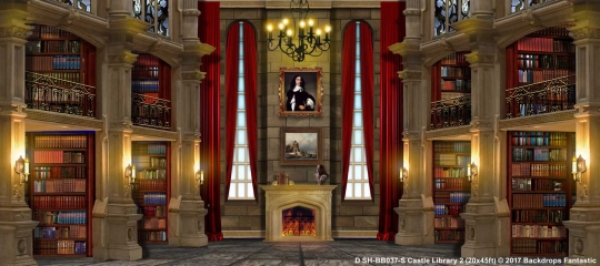 Castle Library 2 SH-BB037-S 20x45 Beauty and the Beast Backdrop Rental