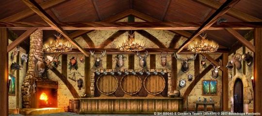 Gaston's Tavern SH-BB040-S 20x45 Beauty and the Beast Backdrop Rental
