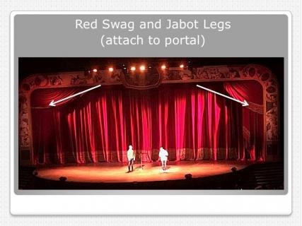 Red Portal Traveler Curtain; Swag w/ Jabot Legs; Voile Legs w/ Jabot