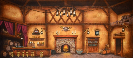 Tavern backdrop used in productions of Fiddler on the Roof and Beauty and the Beast