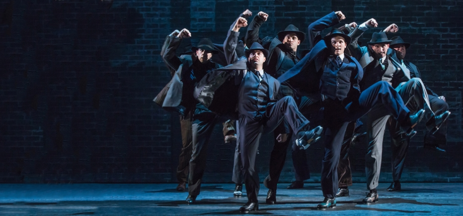 Jeff Brooks (Cheech) and the cast of the North American tour of the hit musical comedy BULLETS OVER BROADWAY, written by Woody Allen featuring original direction and choreography by Susan Stroman. (Photo by Matthew Murphy)