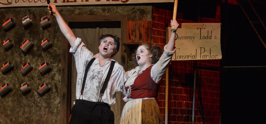 Sweeney Todd: The Demon Barber of Fleet Street, music and lyrics by Stephen Sondheim, book by Hugh Wheeler. Performed by Troupe 856, Pleasant Valley High School, Bettendorf, Iowa.  Photos by John Nollendorfs.