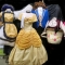 Mrs Potts, Chip, Belle ballgown and Beast