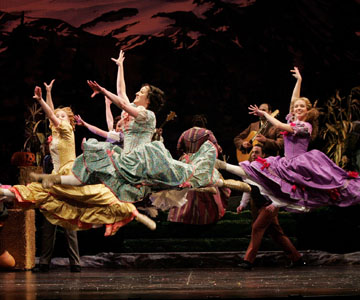 The cast of SEVEN BRIDES FOR SEVEN BROTHERS at the Papermill Playhouse