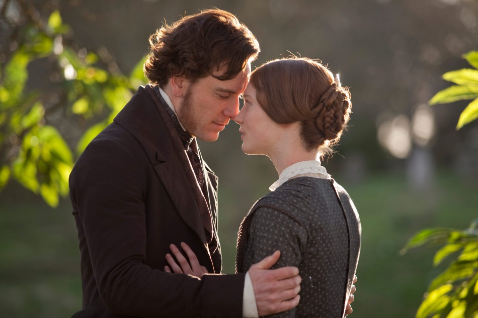 Michael Fassbender (left) and Mia Wasikowska (right) in Focus Features JANE EYRE